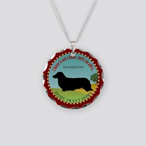 Dachshund [long-haired] Necklace Circle Charm